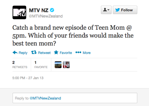Jawkward Tweet of the Day goes to: MTV NZ